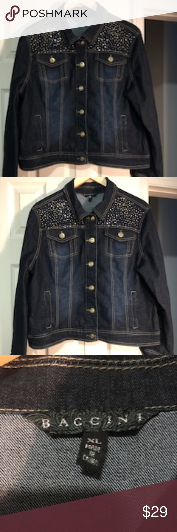 Baccini Jean Jacket With Embellishments Size Xl Jackets Jean Jacket Beautiful Jacket [ 1740 x 580 Pixel ]