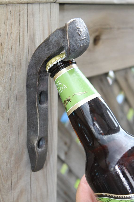 Hand Forged Wall Mounted Railroad Bottle Openers Made From Railway Spikes Would Match Our Horseshoe Spike Door Knocker