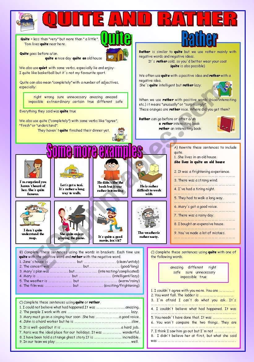 , QUITE AND RATHER – ESL worksheet by peitieiros, Family Blog 2020, Family Blog 2020