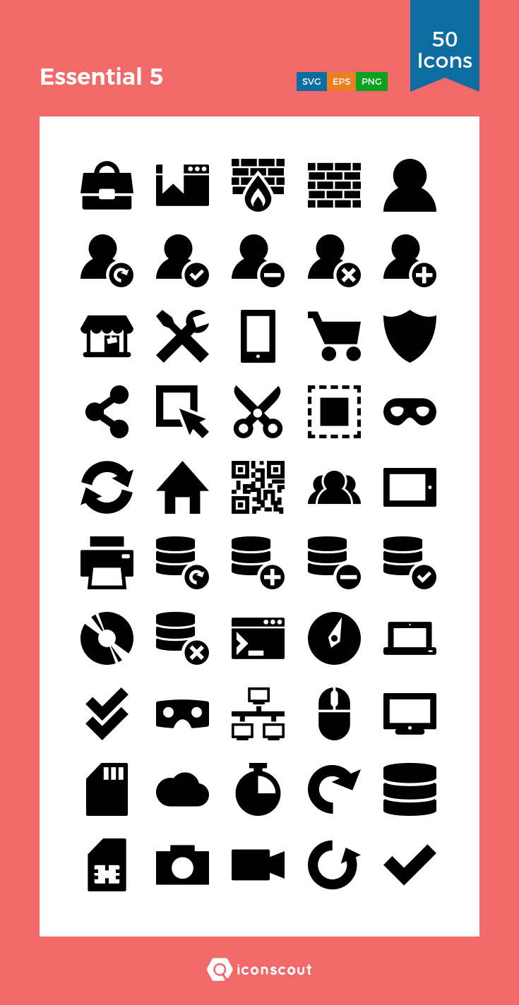 Download Download Essential 5 Icon pack - Available in SVG, PNG ...