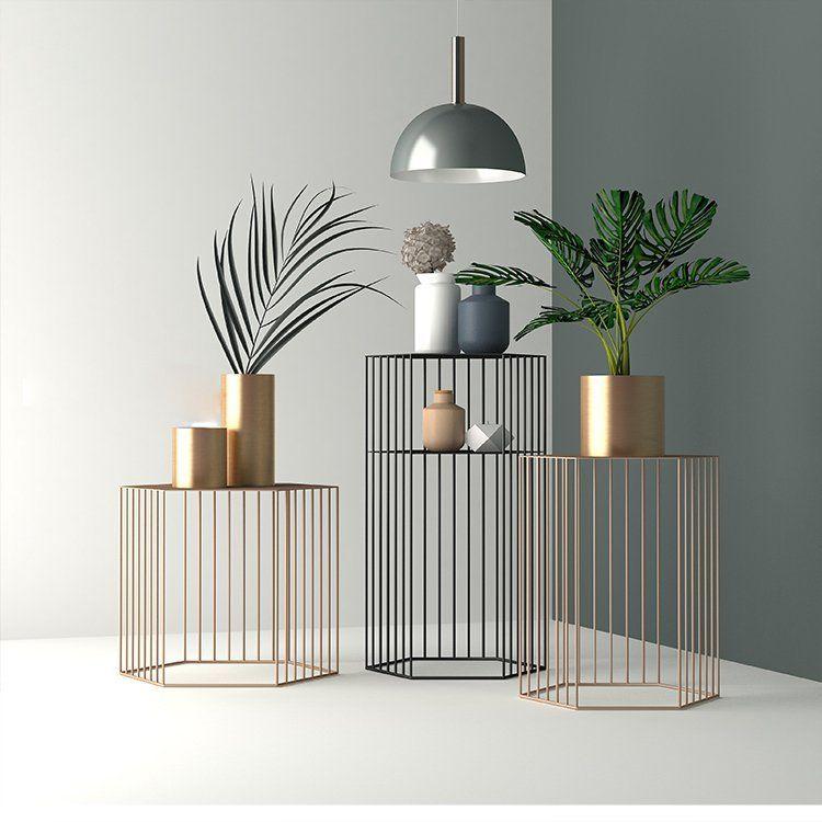 Hexagonal Metal Side Table