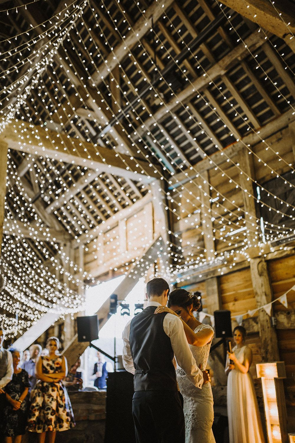 Barn wedding with fairy lights  Pimhill Barn Wedding in Shrophire Super Personal u Magical with Cat