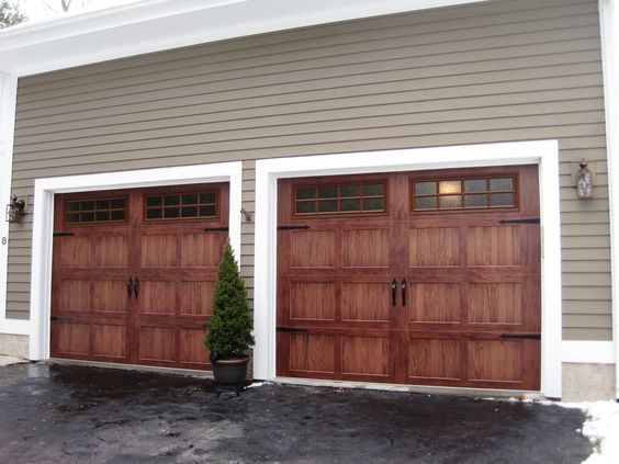 C H I 5283 Short Panel Carriage House Mahogany Woodtones Door With Stockton Windows Garage Doors Wooden Garage Doors Wood Garage Doors
