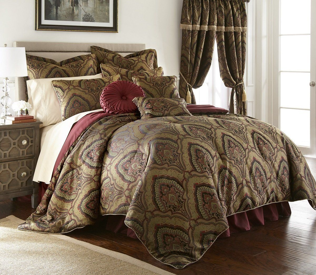 windsor bedding queen new medallion j by fleur oversized set sets p york comforter butter