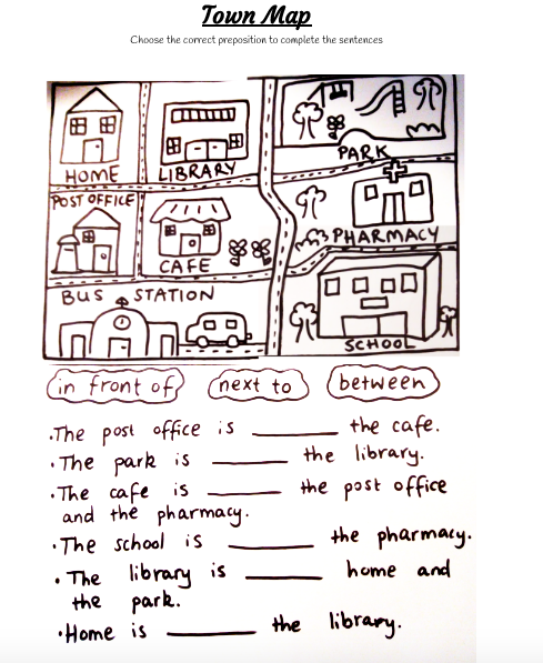 Town Map prepositions worksheet for ESL students. This