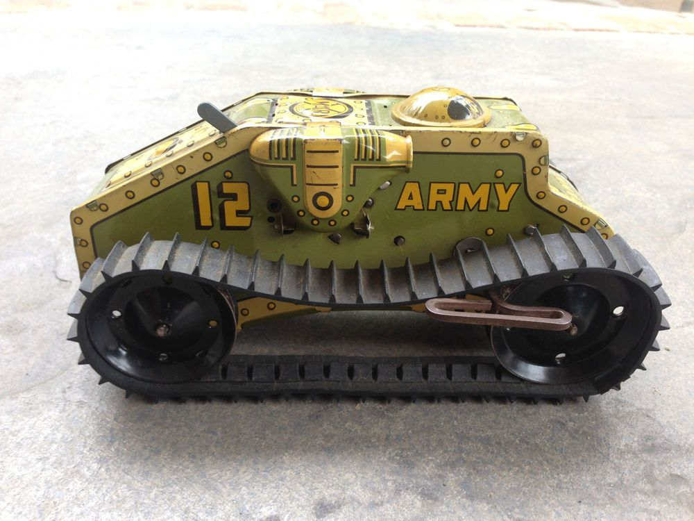 """VINTAGE MARX MAR TOYS ARMY TANK CORPS 12 TIN WIND UP TANK """"NICE CONDITION"""" #Marx 