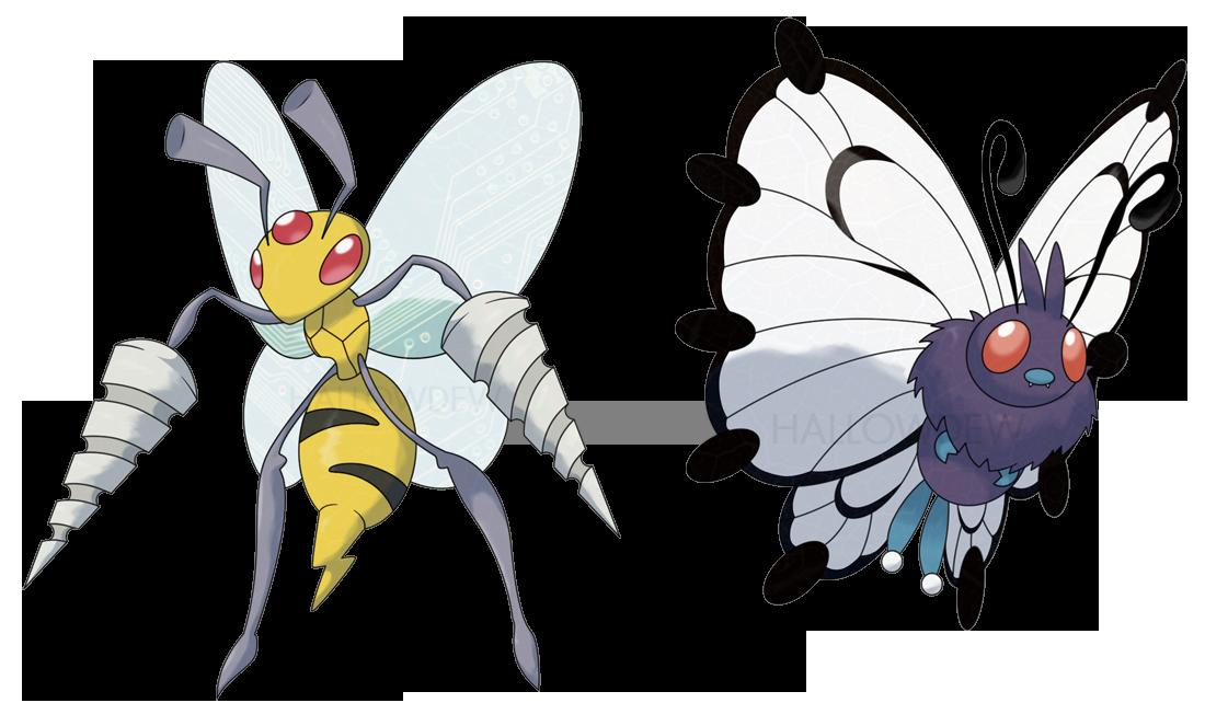 Mega Beedrill And Mega Butterfree By Hallowdew On Deviantart Pokemon Pokemon Fan Art