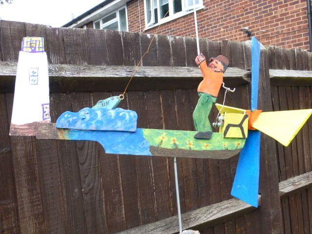 Whirligig Windmill Whirlygig Garden Ornament, Fisherman Wood Wind Powered |  EBay