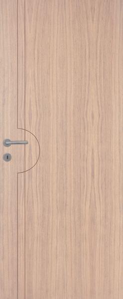 Porte intérieure contemporaine chêne vertical pastel blanc mat