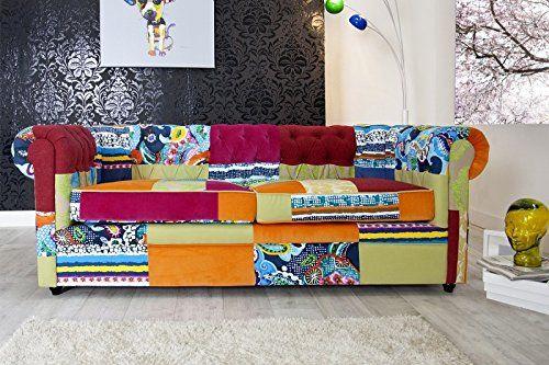 Designer couch bunt  Casa-Padrino-Chesterfield-3er-Sofa-Patchwork-Bunt-Wohnzimmer ...