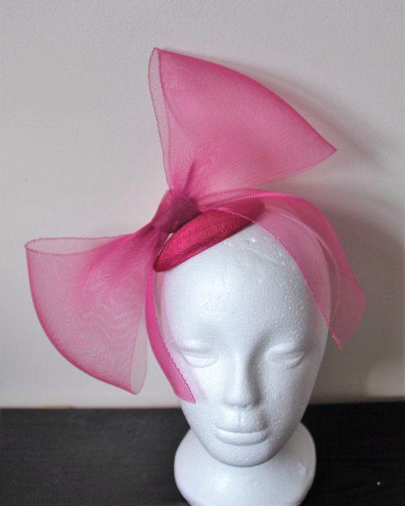 Cerise Pink Fascinator With Large Bow Wedding Hot Hairband