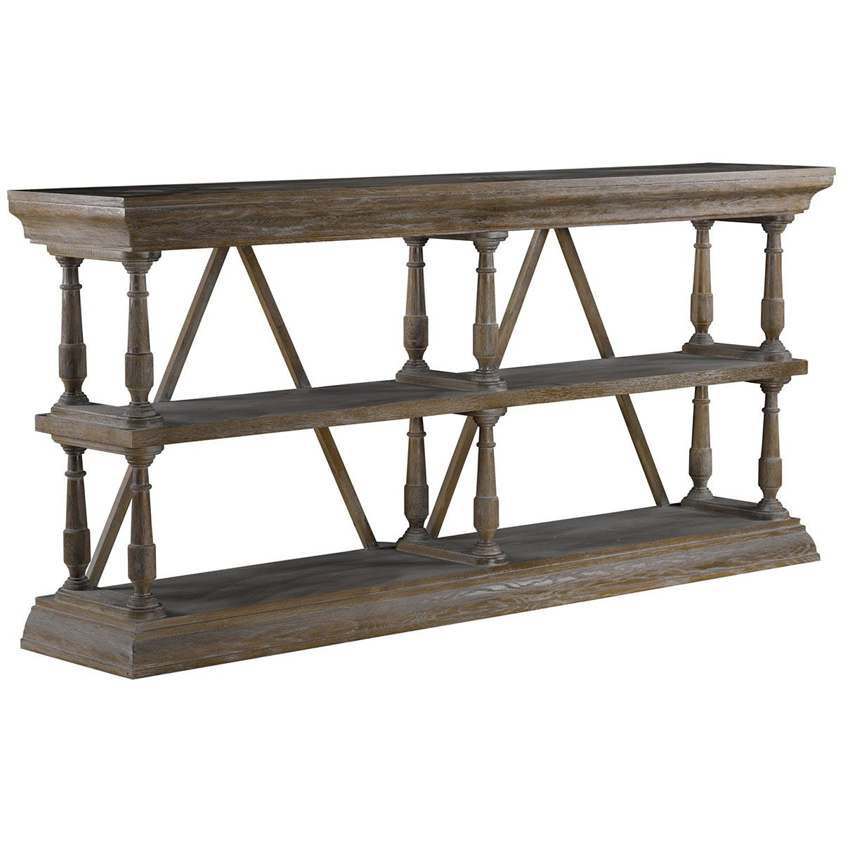 Curations limited natural cross console 88101115 curation curations limited solid weathered oak console table with architectural cross stretchers for support and design geotapseo Choice Image