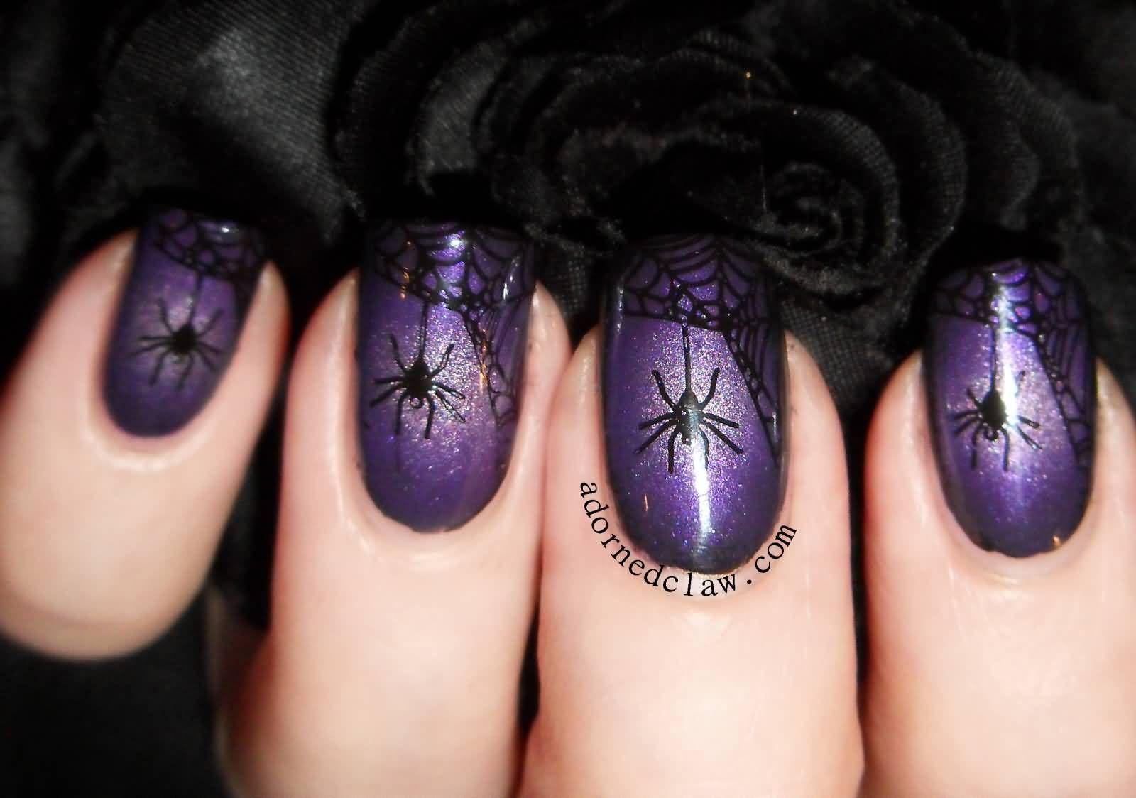 Spiders and web nail polish | Halloween nail designs ...