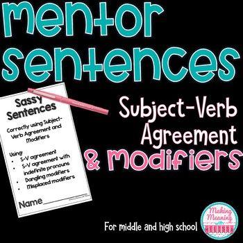 Mentor Sentences Subject Verb Agreement Middle High School
