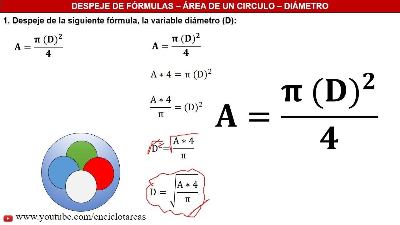 Despeje De Fórmulas área De Un Circulo Youtube Ejercicios Resueltos Signo De Igual Formulas