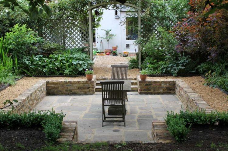 Senkgarten Mit Sitzplatz Gestalten 50 Moderne Ideen Garten Landschaftsbau Steinterrassen Gartendesign Ideen