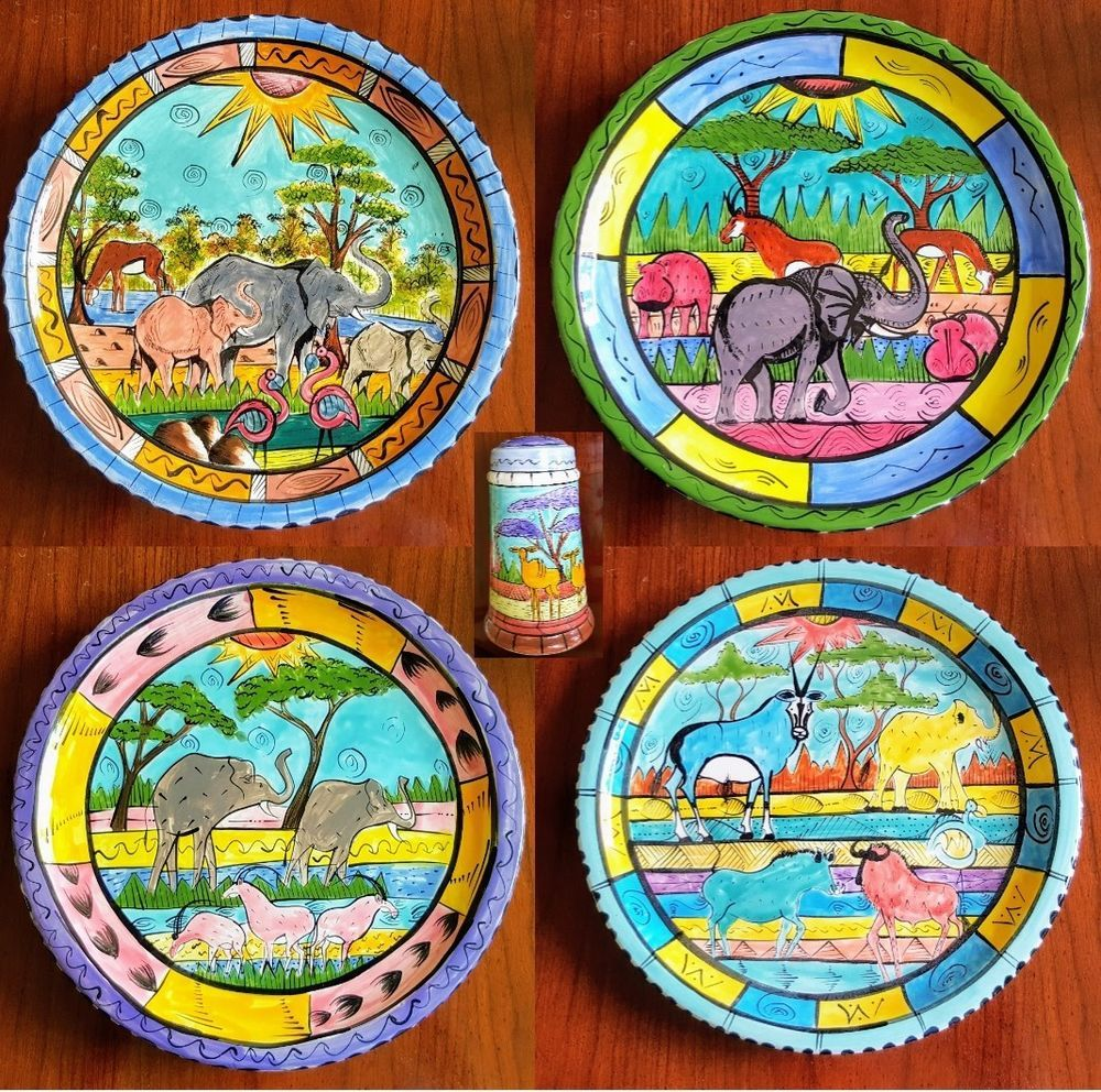 4 Penzo Zimbabwe Pottery Dinner Plates \u0026 Salt Signed Hand Painted Africa c.99-01  sc 1 st  Pinterest & 4 Penzo Zimbabwe Pottery Dinner Plates \u0026 Salt Signed Hand Painted ...