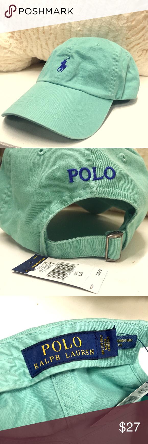36a1f9dfb6c Green Polo Ralph Lauren Baseball Cap (UNISEX) Gorgeous mint green! Fits men  and women since it has an adjustable strap. 6-panel hat.