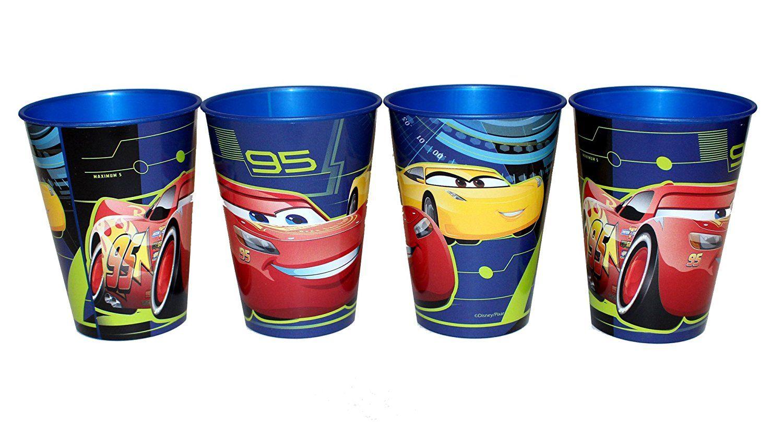 4 Stück Disney Pixar Cars 3 Trinkbecher Saftbecher Becher Set