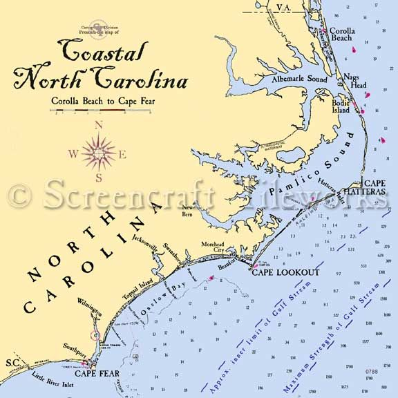 North Carolina - The North Carolina Coast / Nautical Chart ... on carolina coastal map, virginia coast map, vermont coast map, southwest florida coast map, gulf coast map, oak island map, north washington coast map, northeast coast map, fl coast map, s california coast map, portland coast map, sw florida coast map, emerald isle map, south jersey coast map, western florida coast map, northern maine coast map, north oregon coast map, north california coast map, israel coast map,