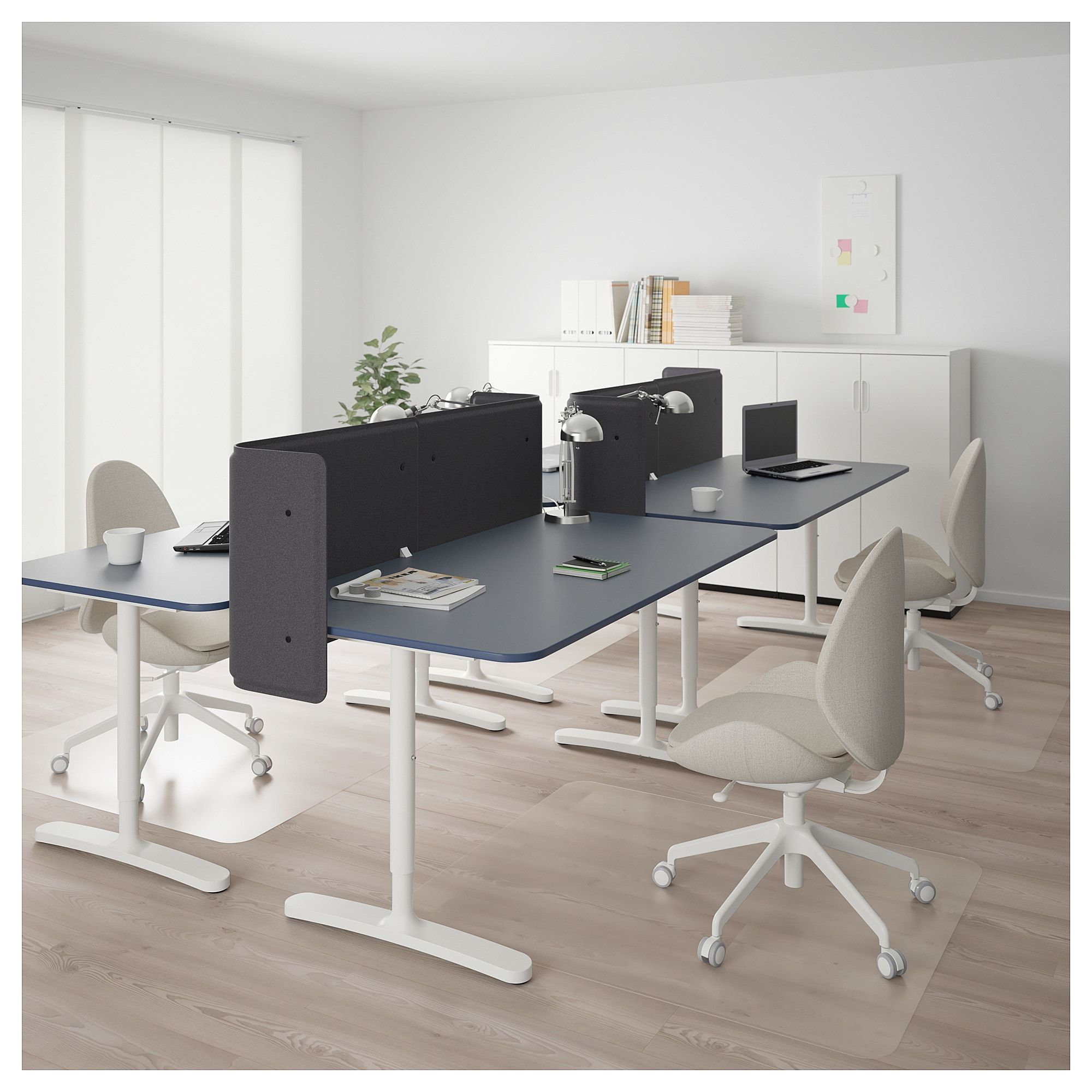 Bekant Desk With Screen Linoleum Blue White Products In