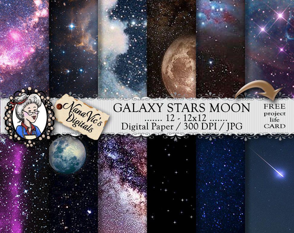 Galaxy Stars Moon Digital Paper Overlay Sparkle Glitter Celestial