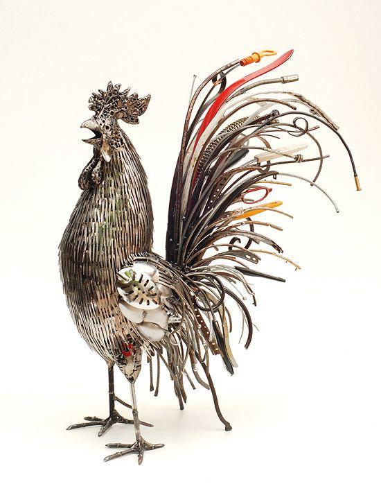 Recycled metal sculptures by brian mock coq poule et - Sculpture exterieure metal ...