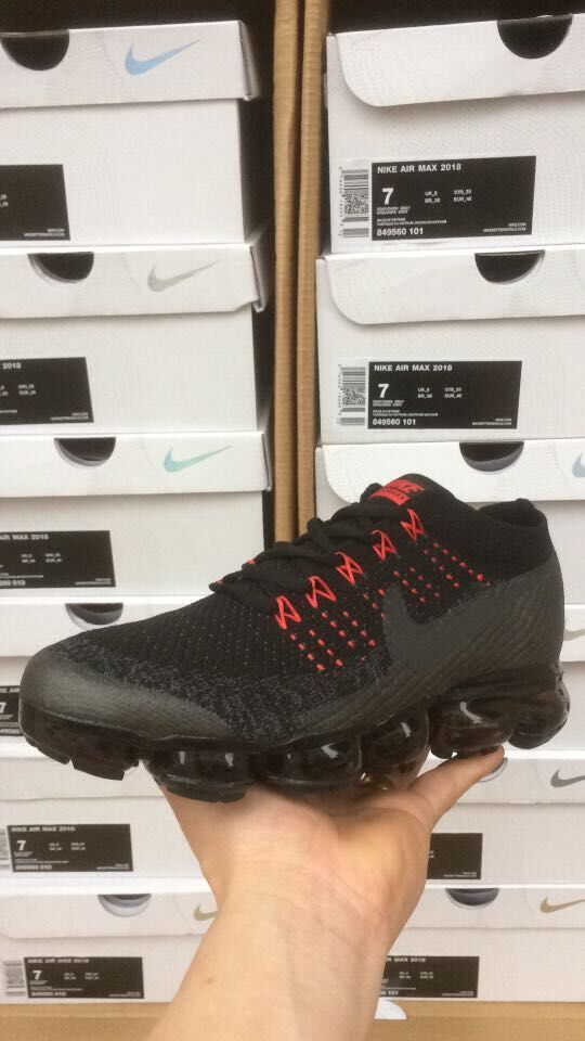 Nike Air VaporMax 2018 Flyknit Black Red Sneakers - Hot Sale - Nike Air  VaporMax 2018 Flyknit Black Red Women Men Shoes Cheap Now Size