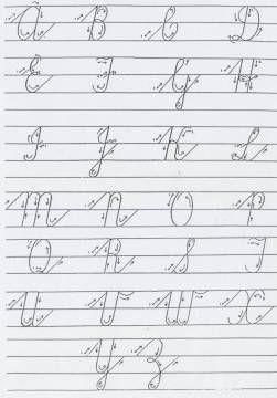 Hiermee 'n voorbeeld van lopende skrif se letterformasies