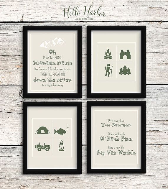 Mountain Man Nursery Art Prints Outdoors Children S Room Hiking Camping Fishing Set Of 4 Country Lyr Outdoor Nursery Nursery Nursery Art Prints