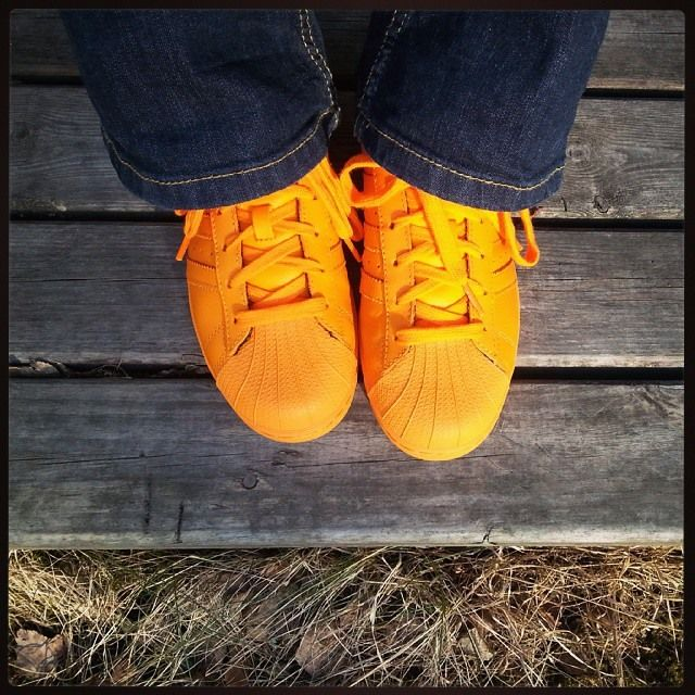 Adidas Supercolor orange sneakers. Perfect summer shoes. <3