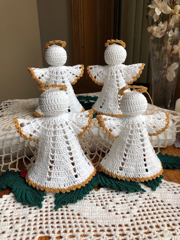 Crochet Angels Set Of 4 Angels Handmade Angels Holiday Home Etsy Handmade Angels Crochet Tree Crochet Angels