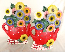 Collectible Ceramic Flower Bookends Red Tea Pots 1940