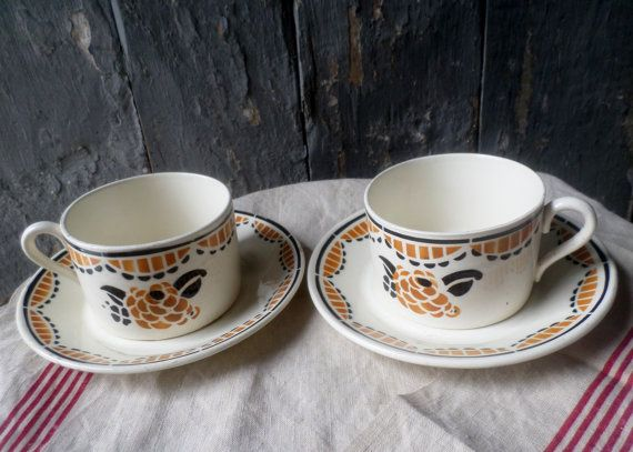 Beautiful Art Deco French cups and saucers by aufrenchrendezvous
