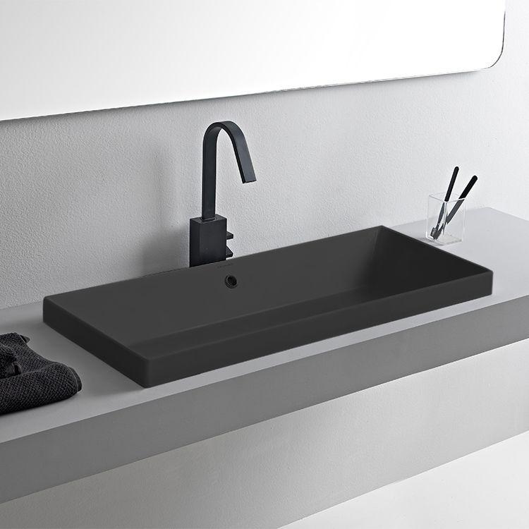 Rectangular Matte Black Ceramic Trough Drop In Sink Sink