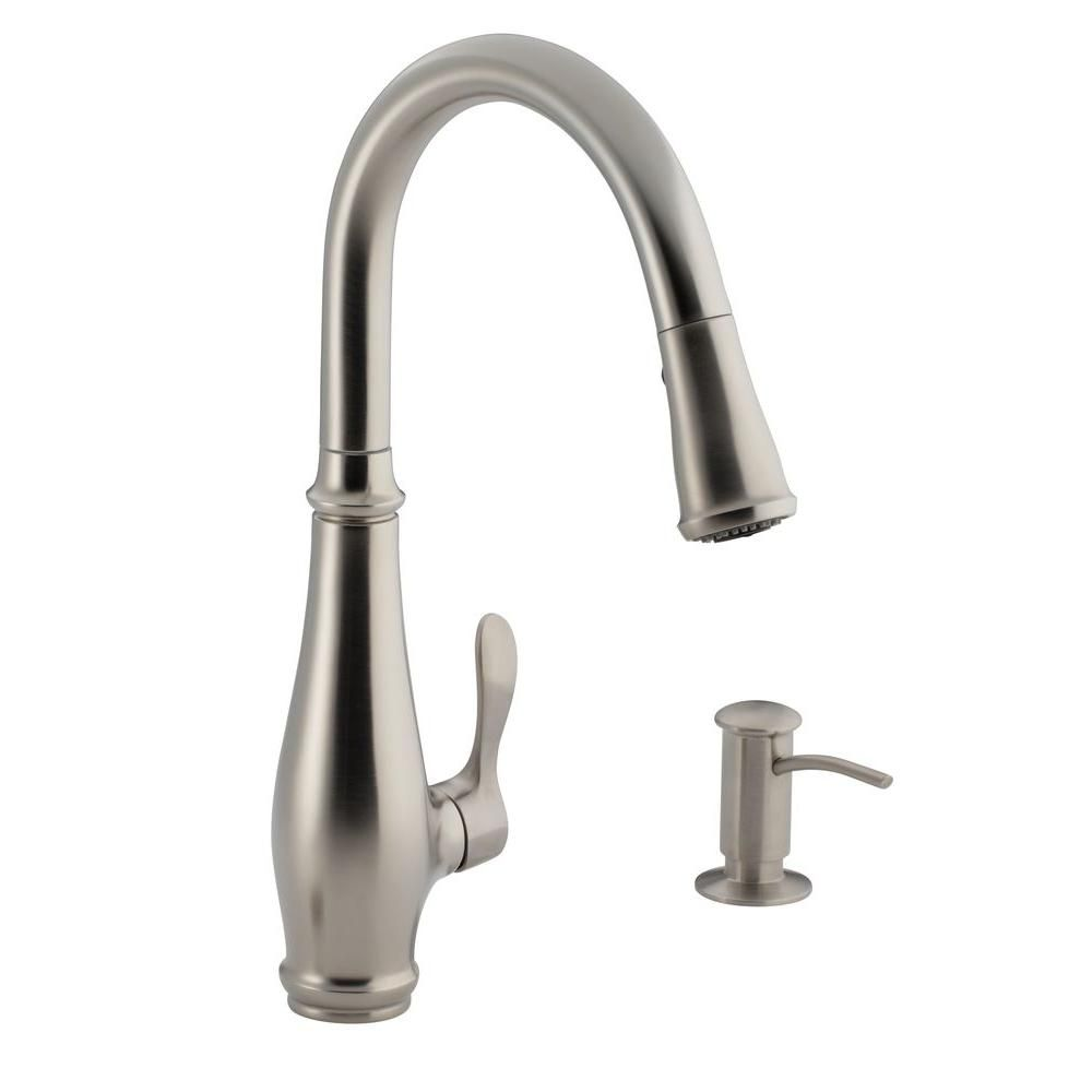 Kohler Cruette Single Handle Pull Down Sprayer Kitchen Faucet In Vibrant Stainless K R780 Vs The Home Depot Kitchen Faucet Single Hole Kitchen Faucet Pull Out Kitchen Faucet