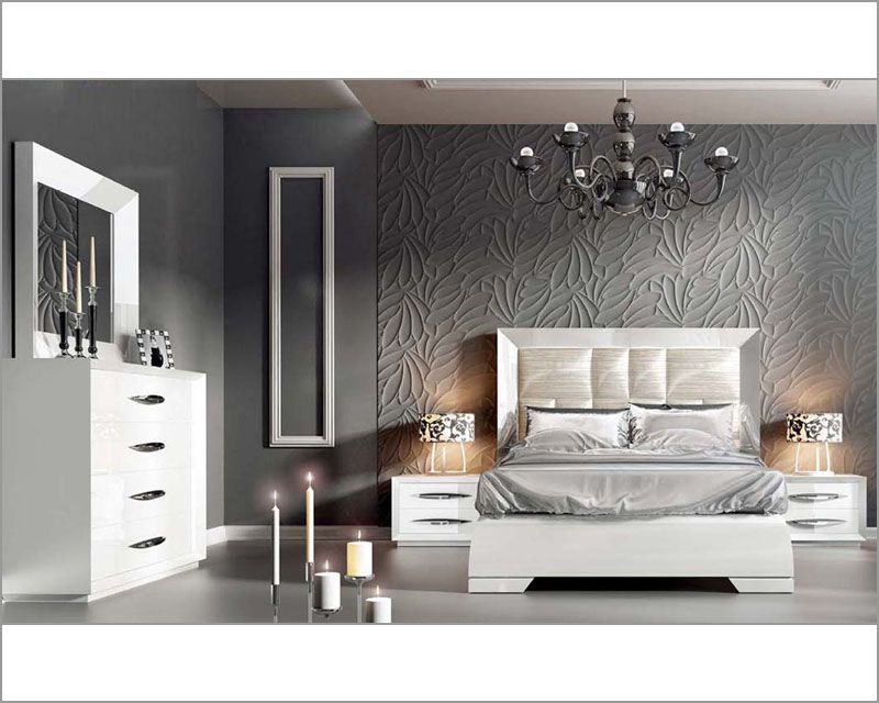 white modern bedroom set carmen piece wing genuine leather Home