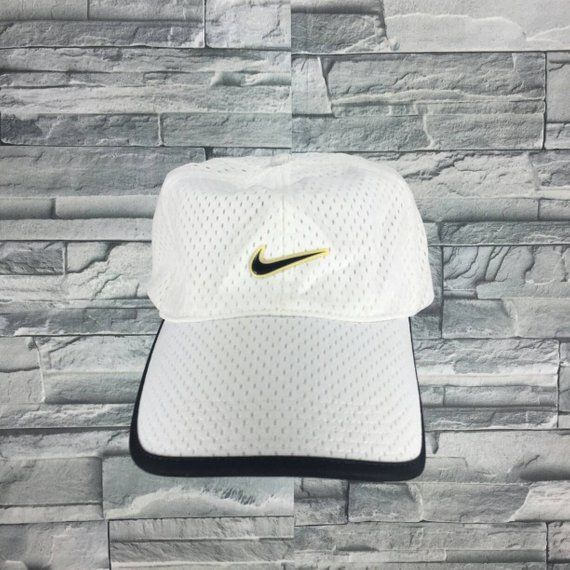 NIKE SPORTS Cap Vintage 90 s Nike Swoosh Cap Snapback Sportswear Nike Golf  Hat Nike Big Logo Apparel Adjustable Nike White Baseball Cap f5cd5768411d
