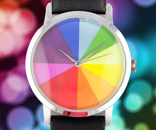 Colorwheel Watchmake Your Outfits A Bit More Vibrant By Accessorizing With The Colorwheel Watch This Gemstone Countertops Leather Band Star Wars Wedding Band