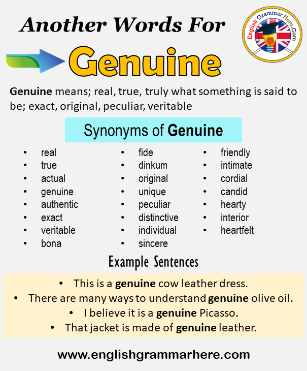 Another Word For Genuine What Is Another Synonym Word For Genuine Every Language Spoken Around The World Has Its In 2021 Learn A New Language Words Learning Process