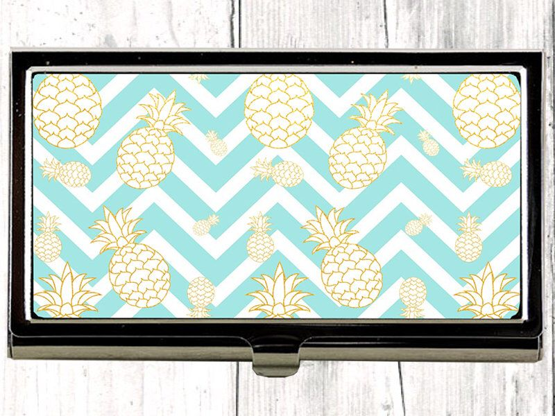 Chevron Business Card Case, Teal Business Card Holder, Pineapple ...