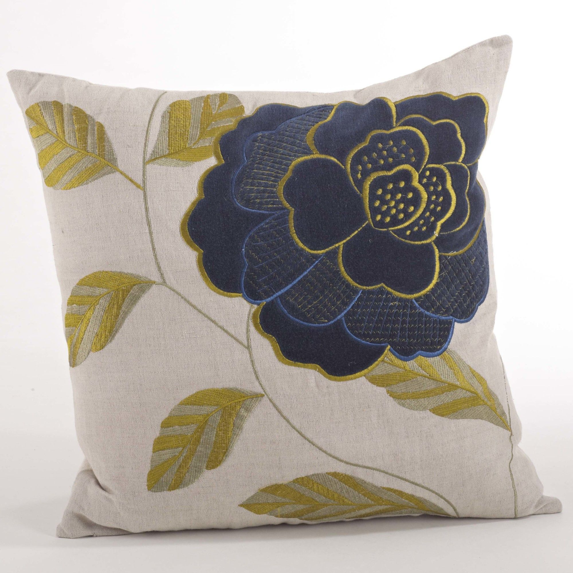 Imani Embroidered Flower Design Throw Pillow