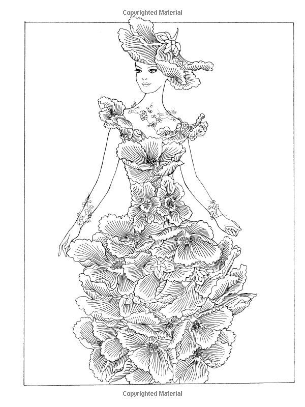 Creative Haven Flower Fashion Fantasies Coloring Book: | Coloring ...