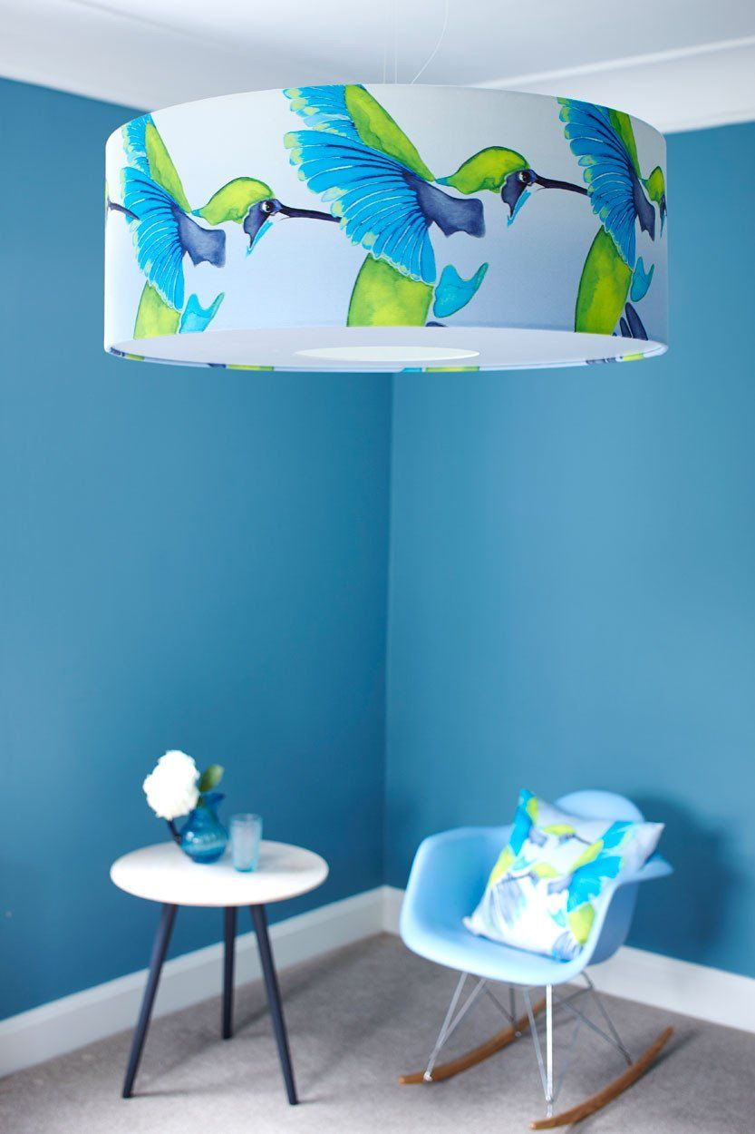 Sipping Nectar Cotton Lampshade In 2020 Lamp Shades Bird Wallpaper Fabric Birds