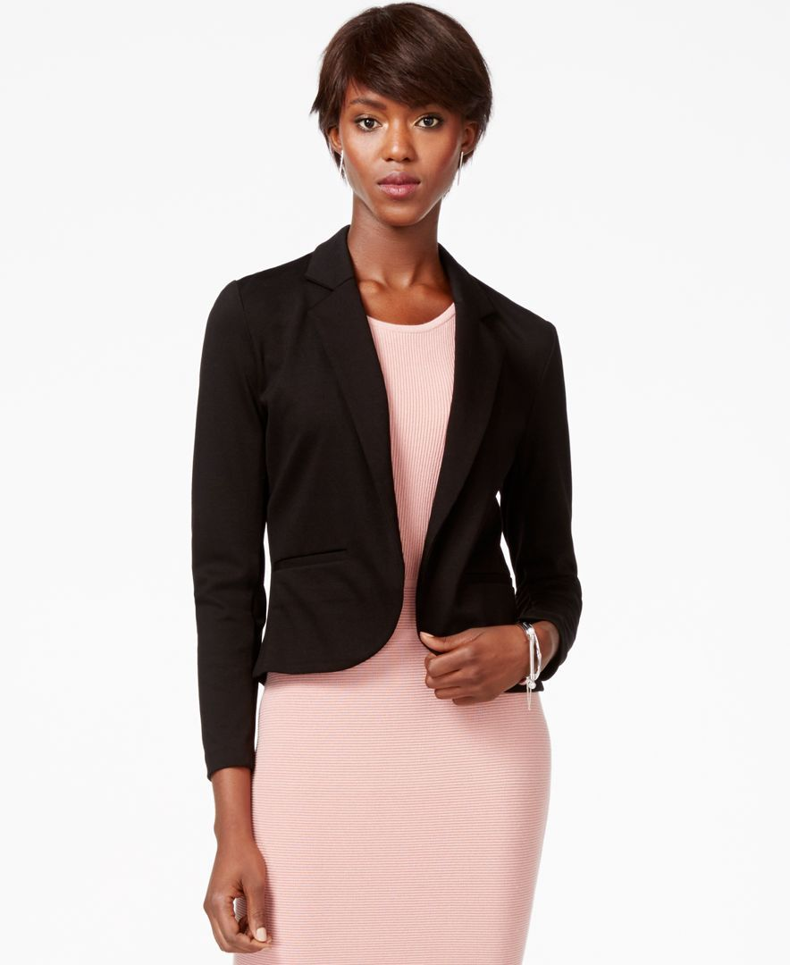 Bar Iii Notched-Lapel Ponte-Knit Cropped Blazer