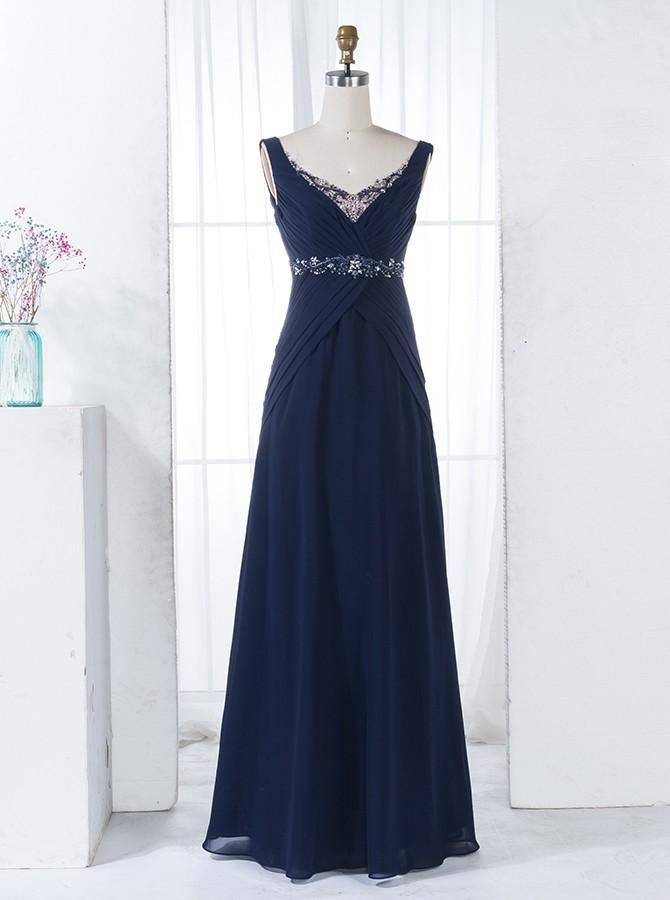 Elegant Prom Dress, A-Line Scoop V-Back Floor-Length Navy Blue Chiffon Beaded Bridesmaid Dress Follow Bridal #navyblueshortdress
