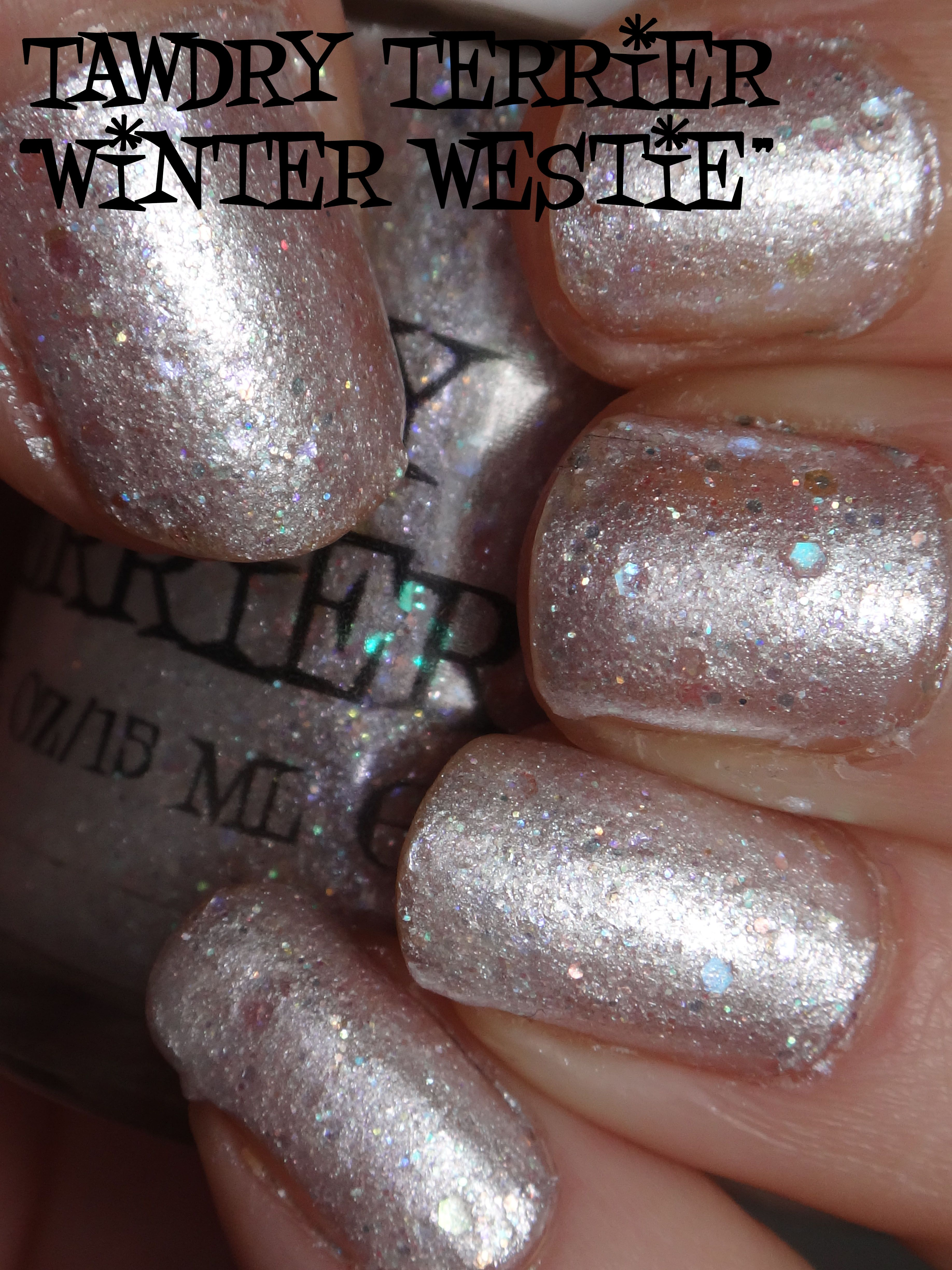 """@TawdryTerrier """"Winter Westie"""" (SOLD OUT) in the sun - check out our available polishes at https://www.etsy.com/shop/TawdryTerrier #nailpolish #indienailpolish #tawdryterrier"""