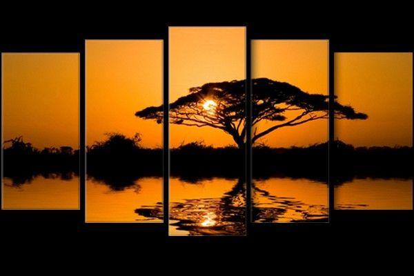 Tableau pentaptyque arbre de la savane africaine au coucher de soleil couch de soleil - Arbre africain en 7 lettres ...