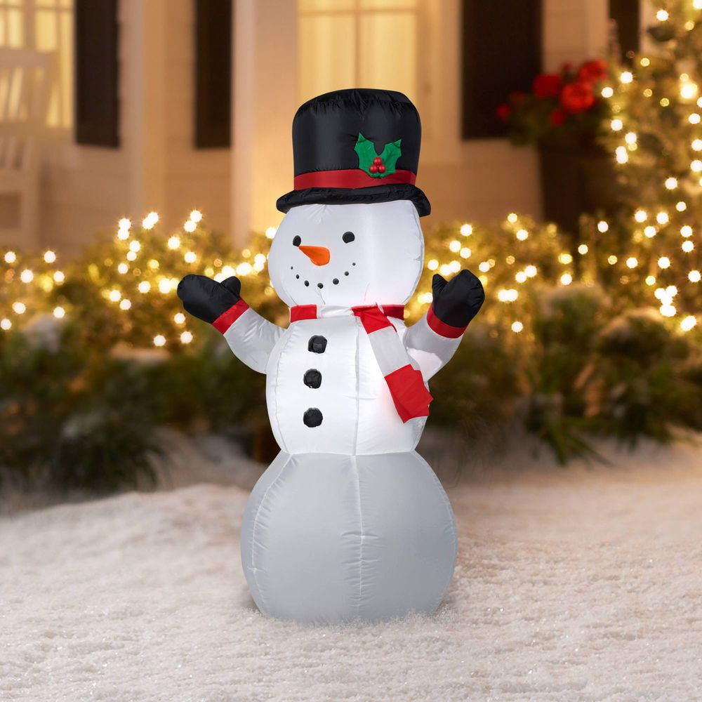4 feet prelit snowman airblown inflatables outdoor merry christmas decoration