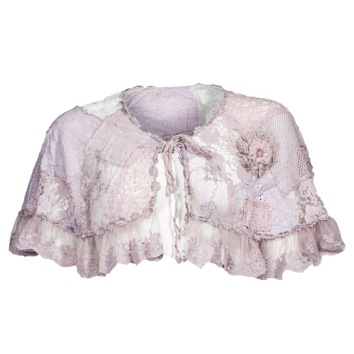 Super seje Rosa sjal med blondekant Jeanne dArc Living Modetøj til Damer til hverdag og fest